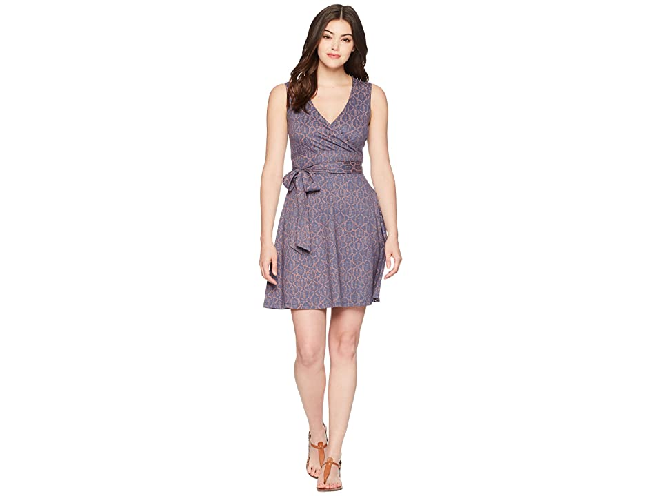 Toad&Co Cue Wrap Sleeveless Dress (Blueberry Batik Dot Print) Women