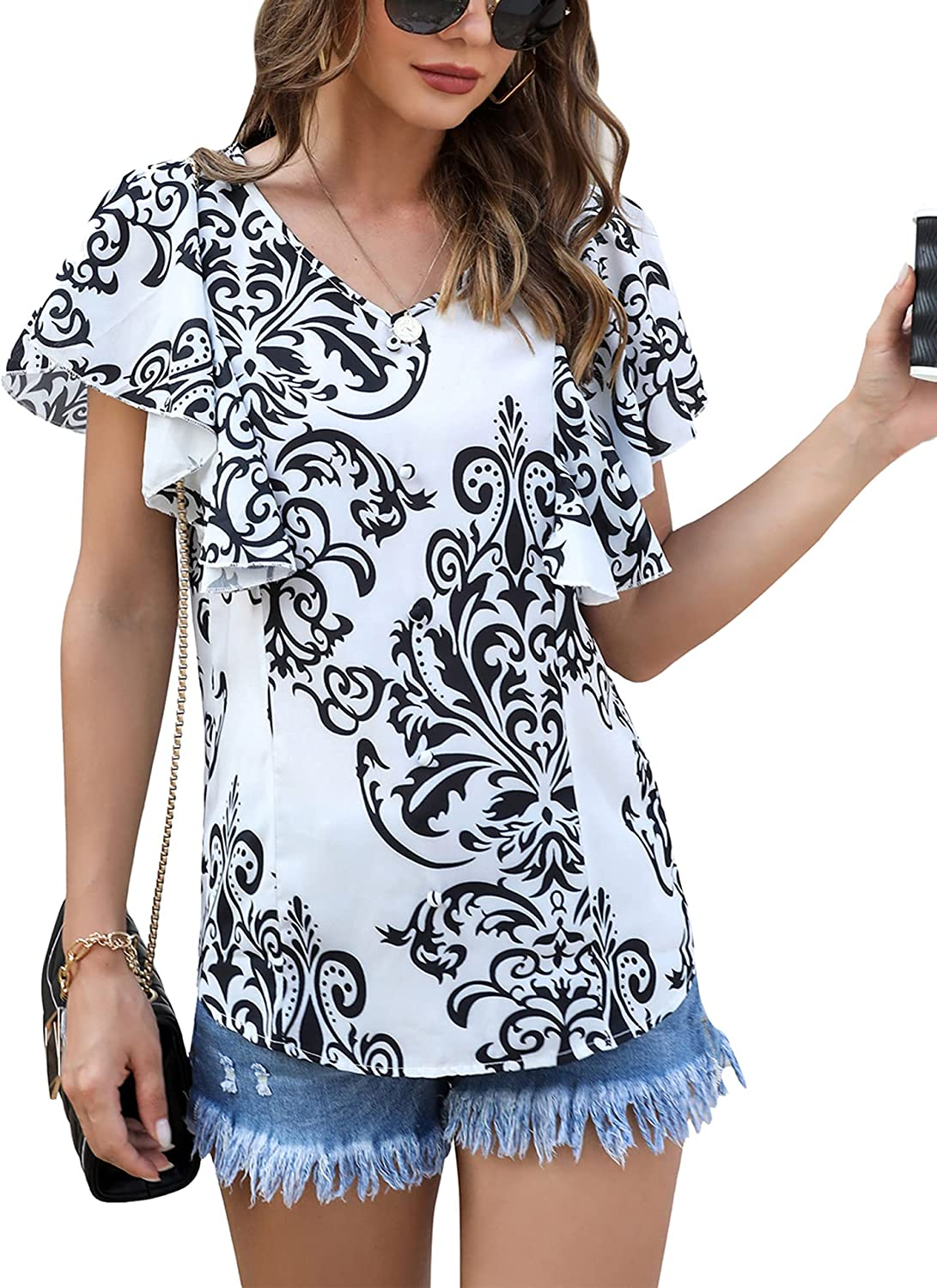 Irevial Womens Summer Chiffon Blouses V Neck Floral Tops Ruffle Button Trim Tunic Shirts