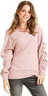 SONJA BETRO Women's Knit Pleated Accent V-Neck Oversized Sweatshirt Tunic Plus Size
