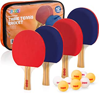 Play22 Ping Pong Paddle Set - 4 Table Tennis Paddles and 8 Ping Pong Balls and Portable Gift Case - Best Gift for Boys and Girls, Adults - Great for Indoor Or Outdoor Play – Speed, Control and Spin