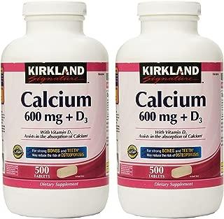Kirkland Signature, Calcium 600 mg + D3 500 Count KZIxv (Pack of 2)