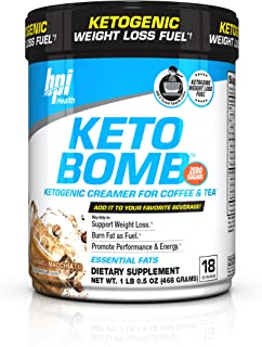 BPI Health Keto Bomb - Ketogenic Coffee Creamer - Amazing Taste - Supports Weight Loss - Essential Fats - Boosts Energy - Increases Performance - 0 Sugar - Caramel Macchiato - 18 Servings - 16.5 oz.
