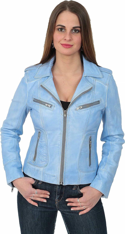 A1 FASHION GOODS Womens Biker Denim Leather Jacket Ladies Motorcycle Style Coat Betty