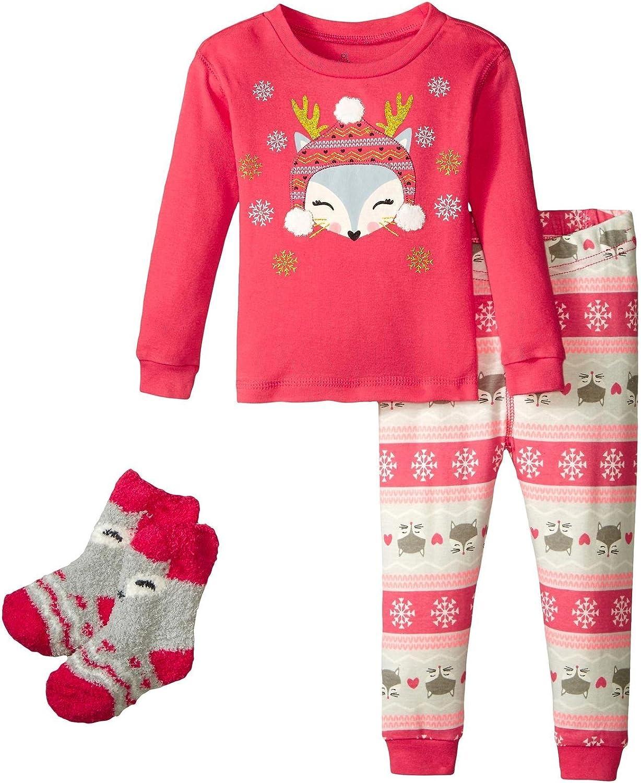 Petit Lem Baby Girls' Enchanted Forest 3 Pieces Set Pajama-Long Sleeve Top and Pant & Socks