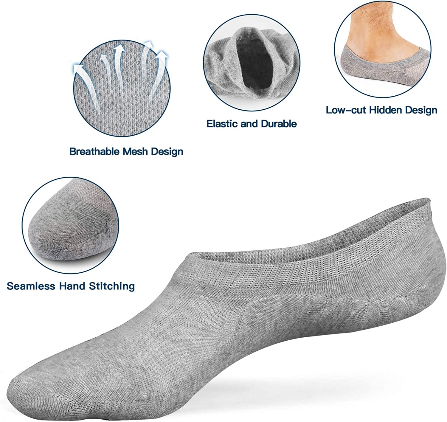 Closemate No Show Socks Mens Women with Anti-Slip Silicone Stripes Trainer Invisible Low Cut Casual Socks for Loafer
