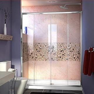 DreamLine Visions 56-60 in. W x 72 in. H Semi-Frameless Sliding Shower Door in Chrome, SHDR-1160726-01