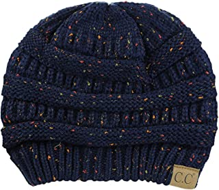 C.C Unisex Colorful Confetti Soft Stretch Cable Knit Beanie Skull Cap - Navy