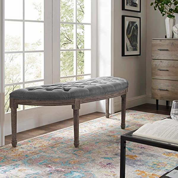 Modway Esteem Vintage French Upholstered Fabric Semi Circle Entryway Bench In Light Gray