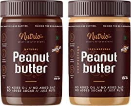 Nutrio 100% Natural Peanut Butter (Crunchy + Chocolate Flavour ) (Unsweetened | 500gm+500gm )(Combo Pack/Pack of 2)