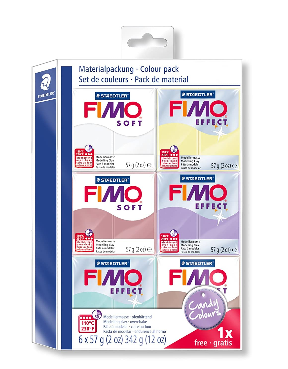 Staedtler Fimo Soft 8023?25?Modelling Clay, Pack of 6?Standard Colours Candy