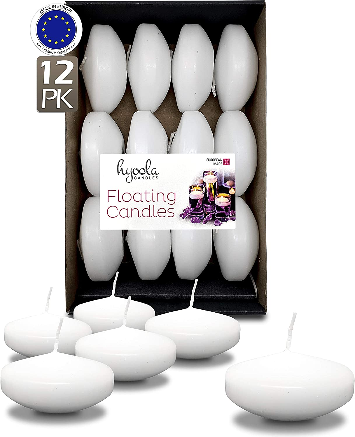 HYOOLA Premium White Floating Candles 3 Inch Hour Pack - 12 8 overseas online shopping