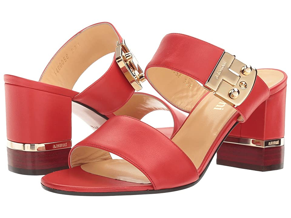 a. testoni Nappa Leather Buckle Strap Heel (Ginger) Women