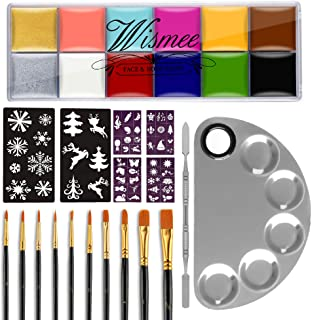 Wismee 12 Colors Face Body Paint Set Professional Halloween Christmas Face Painting Kit with 5-Well Makeup Palette, 10 Pai...