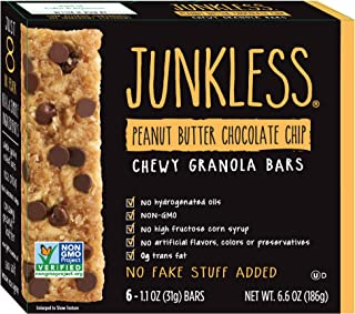 JUNKLESS Chewy Granola Bars, Peanut Butter Chocolate Chip, 6 x 1.1 oz bars, Non-GMO, low sugar, great tasting, made for ki...