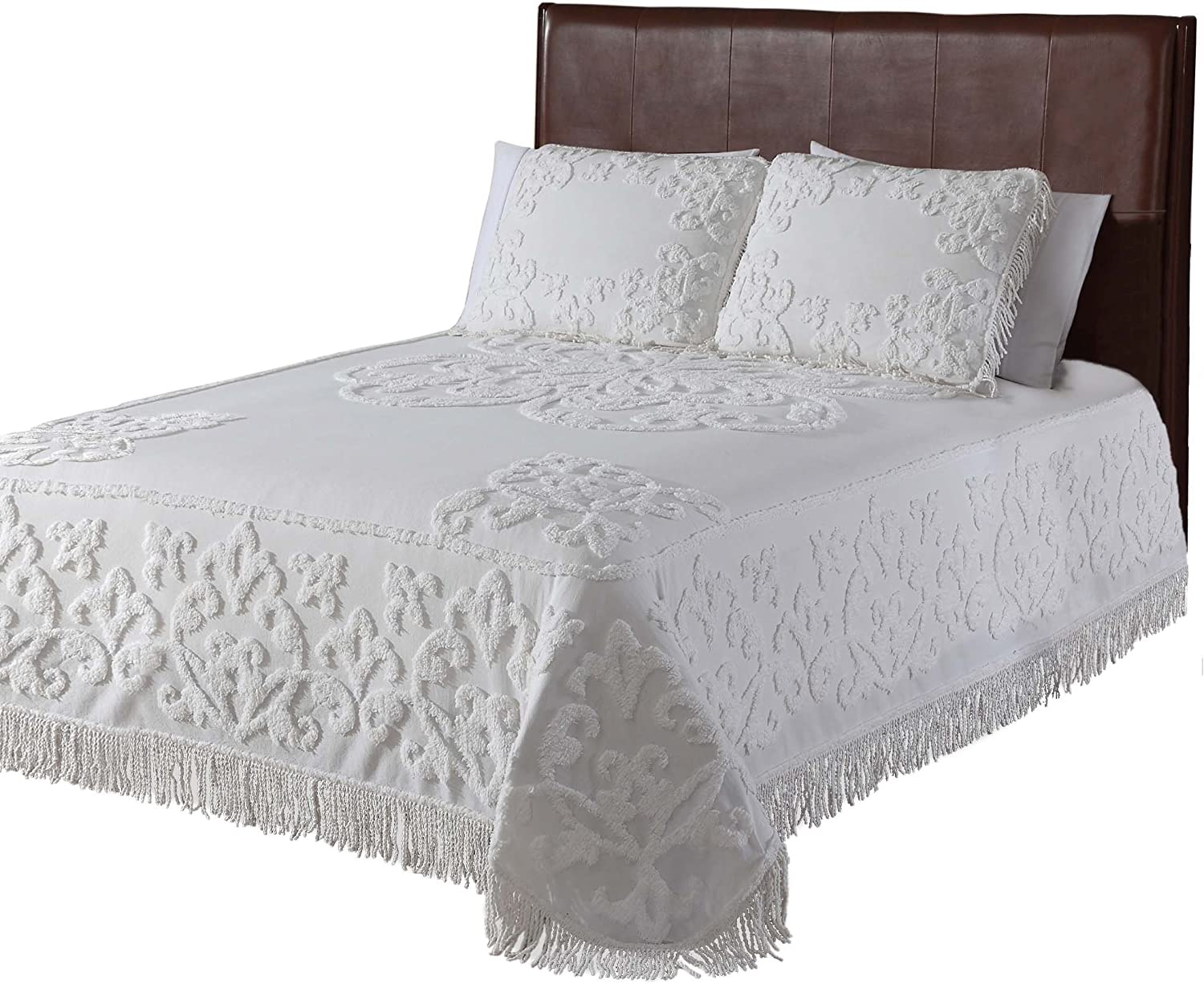 Beatrice Home Fashions Gayal Chenille Bedspread, King, Ivory