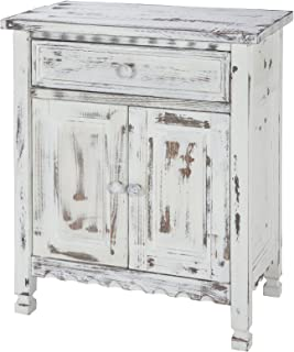 Rustic Cottage Accent Cabinet with 1 Drawer and 2 Doors, White Antique