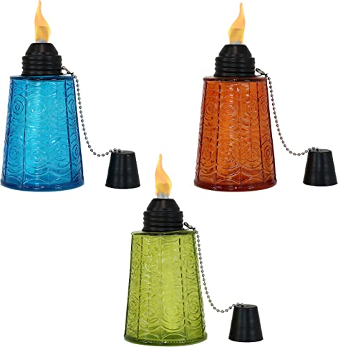 discount Sunnydaze Multicolored Glass Outdoor Tabletop Torch Set with Fiberglass online Wicks - Set of 3 Refillable Torches (1 Blue, 1 Orange high quality and 1 Green) - Outside Decor Accessories for Yard, Patio, Deck or Garden online sale