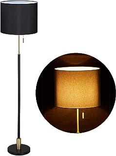 Relaxdays 10032229 Lampe sur Pieds, de Salon E27, câble, Abat-Jour en Tissu D 40 cm,lampadaire Vintage 163 cm de Haut,Noir...