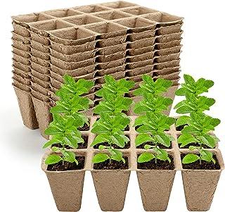 GWHOLE Seed Starter Tray Kit 12PCS x 12 Cell Seedling Trays Peat Pots Organic Plant Peat Pots Germination Seedling Trays f...