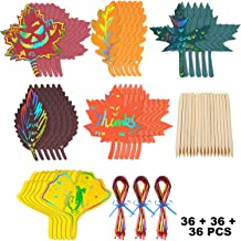 36 Pieces Colorful Fall Leaves Scratch Paper, 36 Pieces Colorful Rope and 36 Pieces Wood Stylus