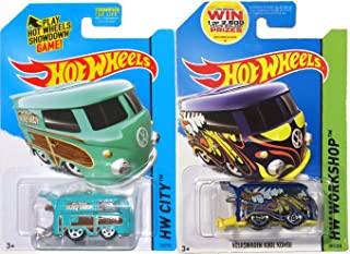 Volkswagen Kool Kombi SET of Hot Wheels HW City Garage Surf Shop Patrol 2 Cars - 2014 #201 & 2015 #73 IN PROTECTIVE CASES