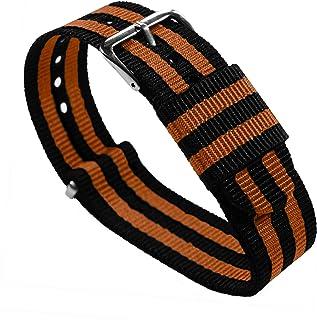 18mm Black/Burnt Orange Standard Length - BARTON Watch Bands - Ballistic Nylon NATO Style Straps
