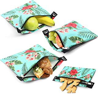 Nordic By Nature Premium Sandwich & Snack Bags for Women, Men & Kids (Green Flower) | Designer Set of 4 Pack | Reusable | Eco Friendly | Dishwasher Safe Lunch Baggies | Easy Open Zipper