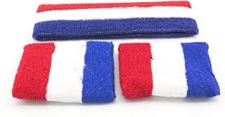Oidon Sweatband Large Set 1 Headband + 2 Wristband Red White Blue