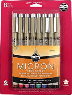 (Pigma Micron, 01 8CT Set, Ass't Colors) - Sakura Pigma 30068 Micron Blister Card Ink Pen Set, Ass't Colours, 01 8CT Set