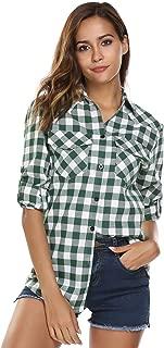 Women's Plaid Flannel Shirt, Roll Up Long Sleeve Checkered Cotton Boyfriend Shirt