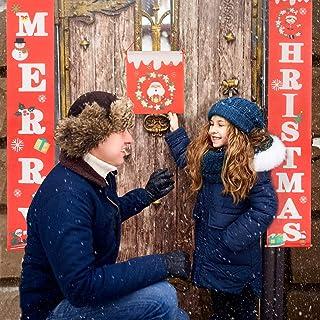 PATAZOK Banner de Christmas Puerta 3pcs Decoración de la Fiesta Navidad Xmas Porch Bienvenido Navideña Letrero Puerta Delantera Patio Pared Ventana Chimenea Festival Fiesta Feliz Familia