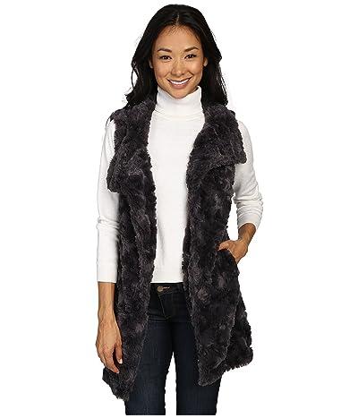 Dylan by True Grit Plush Faux Classic Silky Fur Long Snap Vest (Charcoal) Women