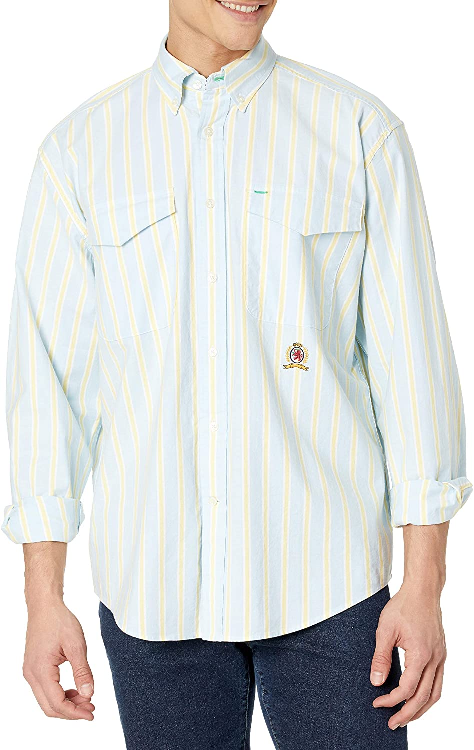 Tommy Hilfiger Men's Iconic Long Sleeve Button Down Shirt in Custom Fit