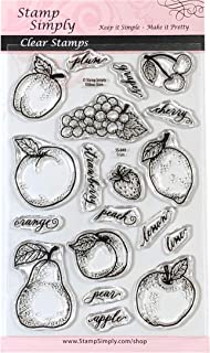 Stamp Simply Clear Stamps Fruit Shapes Grapes, Apples, Cherries and More Sentiments Christian Religious 4x6 Inch Sheet - 19 Pieces