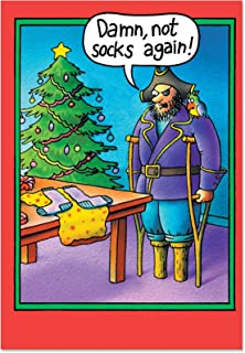 Peg Leg Socks - Funny Pirate Christmas Greeting Card with Envelope (4.63 x 6.75 Inch) - Pirate and Parrot Xmas Gift, Happy Holidays Card for Kids, Adult - Cartoon Season's Greeting Stationery 5709