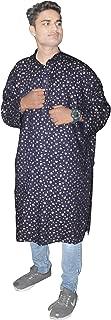 Lakkar Haveli Men's Cotton Shirt Tunic Gold Print Loose Fit Kurta Blue Color Plus Size