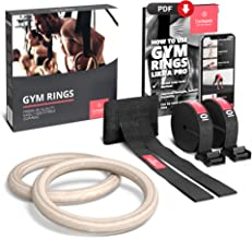 Gymnastic Rings Set Wood + Door Anchor Attachment, Exercise eBook & Adjustable Safety Straps + Length Markings   Wooden Ol...