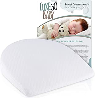Universal Bassinet Wedge for Reflux Baby Pillow   Baby Wedge Sleep Positioner for a Goodnight's Rest   Handcrafted Organic Cotton with Waterproof Liner   Reflux Wedge Pillow for Babies by LuxeGoBaby