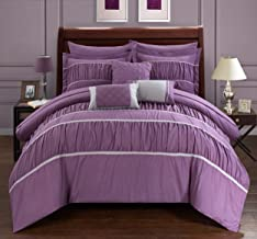 Chic Home Cheryl 10 Piece Comforter Complete Bag Pleated Ruched Ruffled Bedding with Sheet Set and Decorative Pillows Sham...
