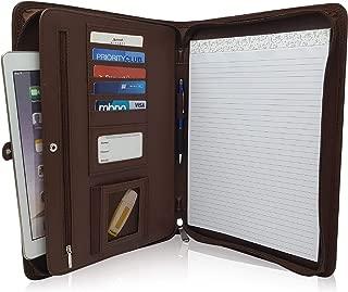 Zippered Leather Business Portfolio Padfolio – Professional Dark Brown PU Leather Portfolio Binder & Organizer Folder with 10.5 inch Tablet Sleeve by Lautus Designs