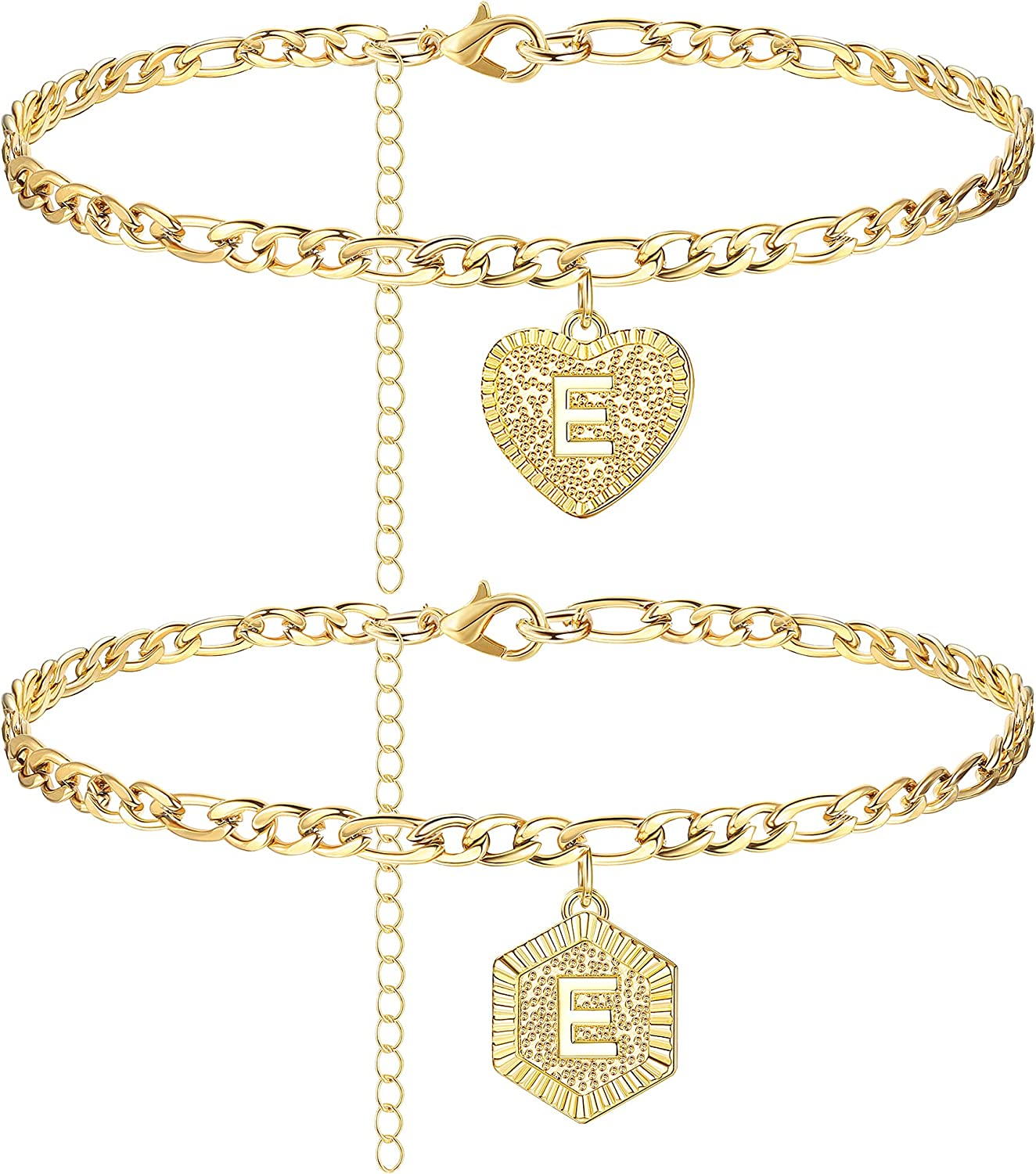 XCOIN Initial Ankle Bracelets for Large special price Women Gold Max 87% OFF Figaro Plated C 14K