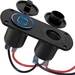 SONRU Dual QC3.0 USB Charger Socket, Car Charger 5V 6A Fast Charge 3.0 Cigarette Lighter Socket Splitter Waterproof Power Outlet for 12V / 24V Car, Boat, Motorcycle, Caravan,Truck,Marine,Campers