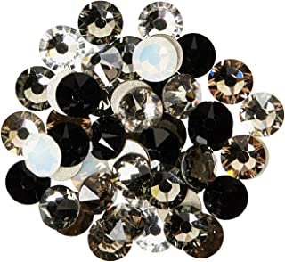 144 Swarovski 2058 Xilion / 2088 Xirius Rose Crystal Flat Backs No-Hotfix Rhinestones Black & White Colors Mix ss20 (4.7mm)