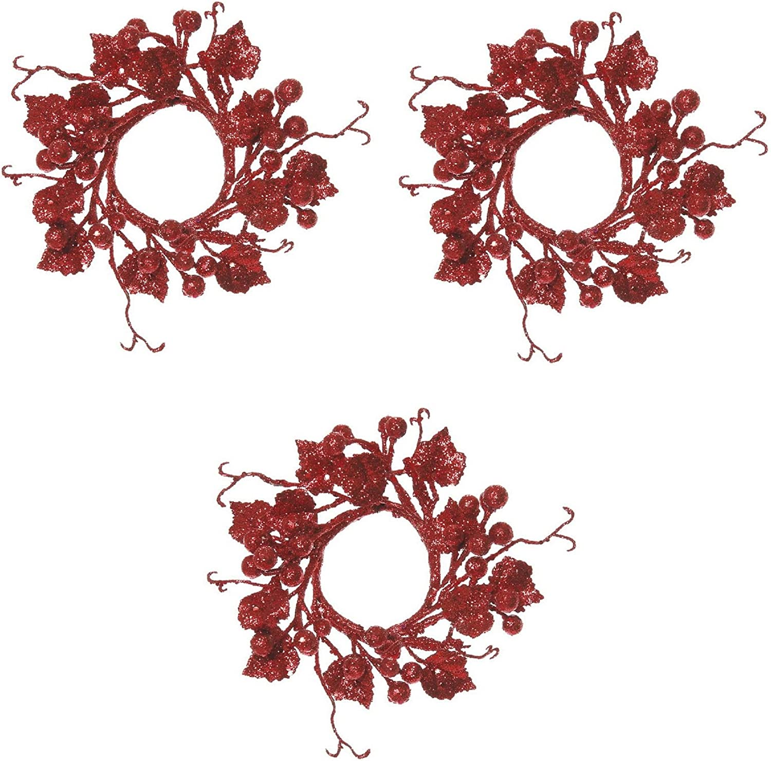 Christmas Glitter Berry Candle Ring or Mini Wreath in Choice of 3 Colors Green Select Artificials Set of Three