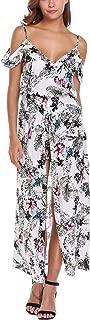 Women Floral Romper Maxi Dress Cold Shoulder Beach Dress Overlay Boho Jumpsuit