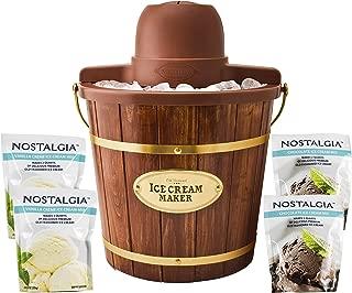 Nostalgia ICMW400BUN Wood Bucket Ice Cream Maker Sample Pack, 4-Qt, Brown