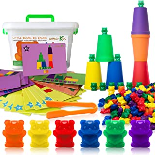 Bambookids Little Bears Big Brains | Rainbow Counting Bears with Matching Sorting Cups and Original Printed Activity Cards | Large Tweezer and Storage Container | Montessori Sorting and Counting Toy