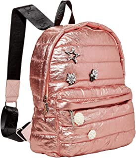 Puff-Ect Padded Rhinestone Crystal Jeweled Sequin Embellished Rose Gold Metallic Puff Backpack