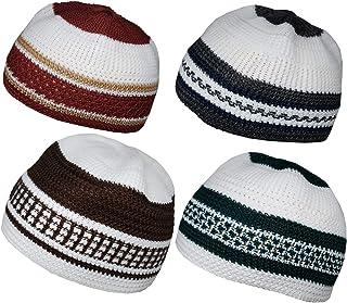 Set of 4 Muslim Beanie Skull Cap Islam Kufi Topi Prayer Hat Crochet Taqiyah Takke