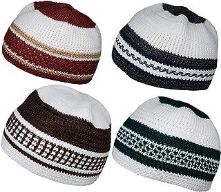 Set 4 Muslim Beanie Skull Cap Islam Kufi Topi Prayer Hat Crochet Taqiyah Takke